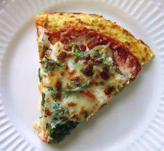 Carb Free, Low Calorie Pizza -- cauliflower crust, veggies