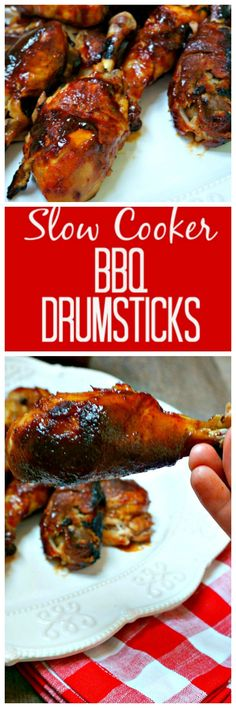 Easy Slow Cooker BBQ Drumsticks: A few simple ingedients and very little work will give you the most tender, juicy, and flavorful chicken drumstick you have eve Crock Pot Slow Cooker, Crock Pot Cooking, Slow Cooker Recipes, Crockpot Recipes, Chicken Recipes, Cooking Recipes, Crock Pots, Vegan Recipes, Ninja Recipes