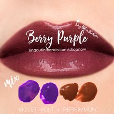 "Learn to mix it up. Use LipSense Mixology to create this ""Berry Purple"" LipColor  by mixing Violet Volt & Persimmon.  #lipsense #mixitup"