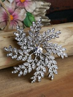 Estate Jewelry - Silver Diamond Floral Brooch