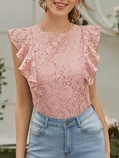 Shrug For Dresses, Casual Dresses, Look Fashion, Fashion Outfits, Formal Tops, Blouse Models, Summer Work Outfits, Ruffle Trim, Blouses For Women