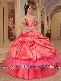 One Shoulder Sissi Kleid Lachs Ballkleid Wolumen Abendkleid Ballkleid