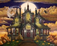 """Haunted House Manor""   All of our Witch Art and Halloween Art is for sale on Ebay or Etsy under screen name Sunbyrum. Copyright © 1999-2011 Byrum Collectibles All rights reserved. All of our designs, artistry, and photos are protected by copyright."