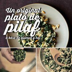 un-original-plato-de-pilaf2 tazas de agua salada 1 taza de quinua 1 ramillete de col rizada Lacinato. Lavada y picada en trozos de 3 centímetros Jugo y rallado de cáscara de 1 limón 2 cebollines, picados 1 cucharada de aceite de nuez tostada (También sirve de oliva) 2 cucharadas de piñones tostados ¼ taza de queso de cabra en migajas Sal y pimienta