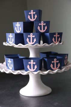 Anchor Candy Cups, Nautical Party Supplies, Nut Cups, Nautical Favors, Party, 12 Pcs, Navy, Light Pinkchors. $12.00, via Etsy.