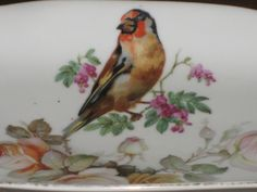 Vintage PK UNITY Germany Porcelain Oval Relish Serving Dish w/ Bird & Floral