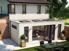 Love this extension with its clever glazing and bi - folding doors. , Love this extension with its clever glazing and bi - folding doors. House Extension Plans, House Extension Design, Glass Extension, Extension Designs, Kitchen Extension Flat Roof, Flat Roof Design, Living Room Extension Ideas, Flat Roof House Designs, Bungalow Extensions
