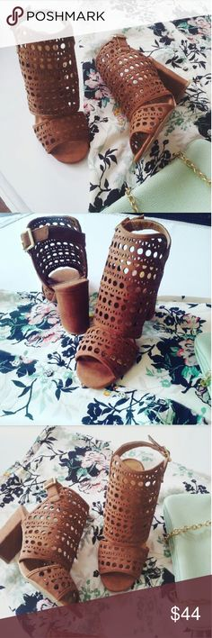 //The Campbell tan cutout bootie// Brand new Never been worn  Comes in original box No trades Many more sizes available. 4 inches heel height Shoes Ankle Boots & Booties