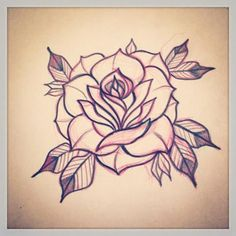 Neo Traditional Roses, Traditional Tattoo Flowers, Traditional Tattoo Design, Traditional Tattoos, Traditional Tattoo Rose Drawing, Traditional Tattoo Stencils, American Traditional Rose, Trendy Tattoos, Popular Tattoos