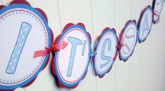 $23.50 Baseball Baby Shower Banner - ITS A BOY Party Sign - Baseball Baby Shower Decorations in Blue and Red