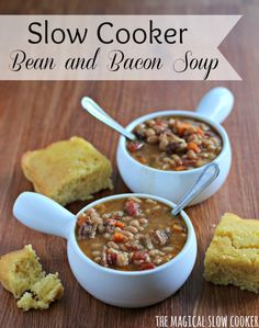 Slow Cooker Bean and Bacon Soup. This soup looks so tasty. I love crockpot recipes. Slow Cooker Beans, Crock Pot Slow Cooker, Crock Pot Cooking, Slow Cooker Recipes, Crockpot Recipes, Soup Recipes, Cooking Recipes, Yummy Recipes, Crockpot Dishes