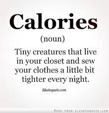 Calories. Noun. Tiny creatures that live in your closet and sew your clothes a…