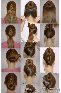 hair, up, braiding, sock-bun