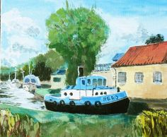 'Hero' of the Broads - An original painting of a Norfolk tug Boat, ready to assist on the Broads.