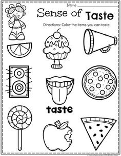 Preschool 5 Senses Worksheet - Sense of Taste Five Senses Kindergarten, Five Senses Preschool, 5 Senses Activities, My Five Senses, Preschool Learning Activities, Kindergarten Science, Preschool Lessons, Kindergarten Worksheets, Preschool Activities