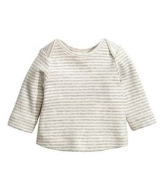Light gray/striped. BABY EXCLUSIVE/CONSCIOUS. Long-sleeved top in soft, ribbed cotton jersey made from organic cotton with overlapping sections at shoulders