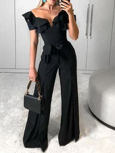The modern ruffled peach collar belted jumpsuit with off-the-shoulder it is so sexy and elegant and you mmay like it. Long Jumpsuits, Jumpsuits For Women, Fashion Jumpsuits, Black One Piece Jumpsuit, Black Jumpsuit, Black Layers, Leg Work, Collar Styles, Mode Outfits