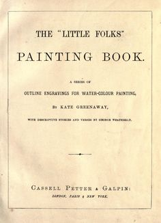 The Little folks painting book : a series of outline engravings for water-colour painting, 1877