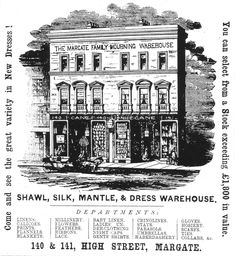 Advertisment Bentley Margate Family Mourning Warehouse - Thanet Guardian   May 5 1866