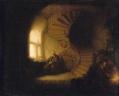 Museoteca - Filósofo meditando, Rembrandt, Harmensz van Ryn