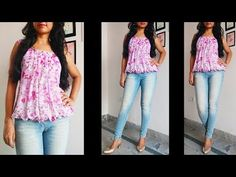Balloon Top Cutting and Stitching in Hindi Girls Dresses Sewing, Frocks For Girls, Stylish Tops For Women, Hand Embroidery Dress, Stitching Dresses, Kurta Neck Design, Kids Frocks Design, Fancy Tops, Stylish Dress Designs