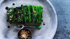 Spinach with lemon, soy and sesame dressing