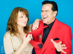 Lucy Lawless and Bruce Campbell, 'Ash vs. Evil Dead' #EWComicCon  Image Credit: Michael Muller for EW