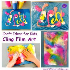 Craft Ideas for Kids - CLING FILM ART posted on July 18, 2014 by Hd. Not meant for fabric, but I wonder...