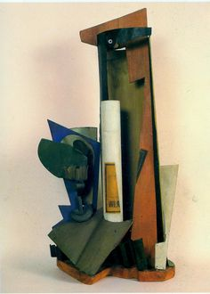 'HENRI LAURENS (French): Bouteille et verre (Bottle and Glass), 1918. Centre Pompidou, Paris. After encountering Cubism, Henri Laurens began to translate the ideas of Analytical Cubism into sculpture, polychrome bas-relief and collages.  Picasso, who liked what Laurens was doing, introduced the fledgling sculptor to Léonce Rosenberg, who was so enthusiastic about Laurens' work that he bought some of it and supported Laurens throughout the war years.