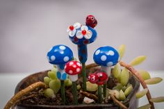 A personal favorite from my Etsy shop https://www.etsy.com/listing/222802224/fairy-garden-glass-mushroom-set-with