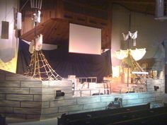 My hubby made this one out of wood for our stage...now u know why I needed 7 boats...we like things awesome for the kids! We want them to be excited about what they are learning! Thx again... Did notice all our cardboard waves with the armada? All the scraps cane in handy! :)jen