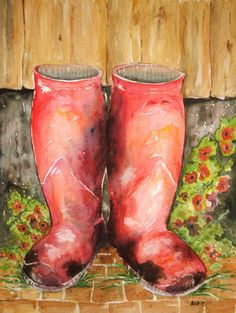 Røde hagevenner Acrylic Paintings, Hunter Boots, Rubber Rain Boots, Watercolor, Drawings, Pastel, Pen And Wash, Watercolor Painting, Watercolour
