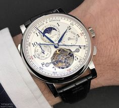 """A. Lange & Sohne Tourbograph Perpetual """"Pour le Mérite"""". Presented today at the Salon International de la Haute Horlogerie (SIHH) 2017 in Geneva, the new Tourbograph Perpetual """"Pour le Mérite"""" is the fifth masterpiece in the A. Lange & Söhne's series and combines the fusée-and-chain transmission with a tourbillon, a chronograph, a rattrapante function and a perpetual calendar. The A. Lange & Söhne Tourbograph Perpetual """"Pour le Mérite"""" Ref. 706.025 will be produced in a limited edition of…"""