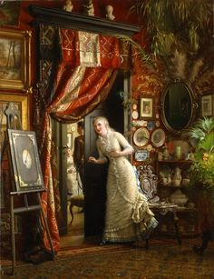 """Courtship-Ekwall Knut. A young man declares his intentions, while a young woman anxiously awaits her parents' verdict. The room is a real advertisement for Victorian decorating excesses. """"less is more"""" is not a concept that the Victorians understood."""
