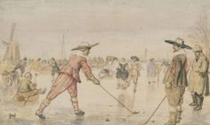 """Colf"" was a traditional Dutch game that combined golf and ice hockey.  From our collection: ""A Winter Scene with Two Gentlemen Playing Colf,"" Hendrick Avercamp, about 1615-1620"