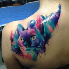 cat tattoo watercolor - Szukaj w Google