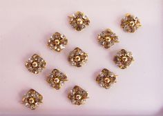 Antique Gold Square Bindis In One Pack stud with by Beauteshoppe