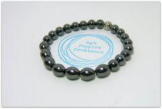 "Hemalyke Gemstone Bracelet ~ 10x8mm Oval with 8mm Round Hemalyke Gemstone Beads ~ Charcoal ~ Unisex ~ stretch  7.5"" www.sgtpepperscreations.etsy.com #sgtpepperscreations #handmadejewelry #etsy"