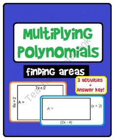 Students practice multiplying polynomials in these 3 activities to find areas: Multiplying monomials by polynomials, Multiplying binomials by bin. School Resources, Math Resources, Math Activities, Algebra 1 Textbook, Algebra 2, Teacher Notebook, Teacher Tips, Teacher Stuff, Adding And Subtracting Polynomials