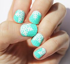 Mint Snowflake Nail Wraps by SoGloss on Etsy