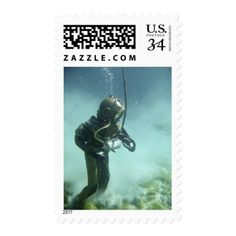 Underwater Diver Metal Suit Fantasy Sea Stamp