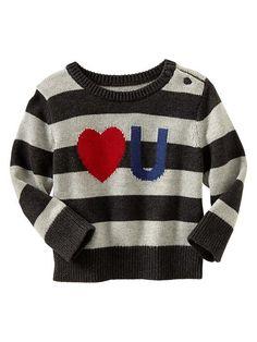 Love U stripe sweater. Little man valentines outfit