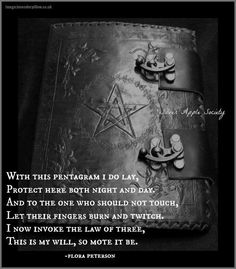 Excellent spell of protection for your Book of Shadows....