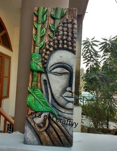 The world's catalog of creative ideas Buddha Artwork, Buddha Wall Art, Buddha Painting, Buddha Decor, Clay Wall Art, Mural Wall Art, Clay Art, Indian Folk Art, Cool Art Drawings