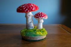 Amanita Patch  Two Fly Agarics with Base by TheWonderRevolution, $75.00