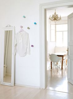 love the white room. and idea of wall hooks for tomorrow's outfit Wall Mounted Coat Rack, H & M Home, Rack Design, Scandinavian Home, Apartment Design, Wall Hooks, Home Projects, Modern, Furniture Design