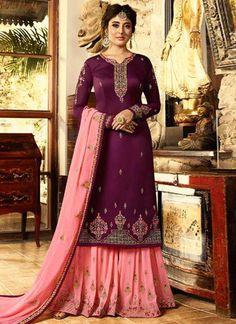 fda3355e6664 Satin Purple And Peach Wedding Sharara Suit