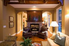 Love the arched entries on each side of the fireplace! Plan 013S-0010 | House Plans and More