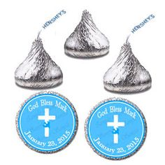 Candy Sticker Label, Personalized Baptism Christening Communion Hershey Kiss Labels, Blue Candy Sticker Favor Tags (0118)
