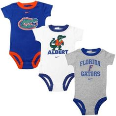 Florida Gators Infant 3-Pack Creeper Set - White/Ash/Royal Blue